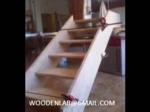 Scaletta In Legno Per Soppalco : Costruzione e posa scala in legno youtube