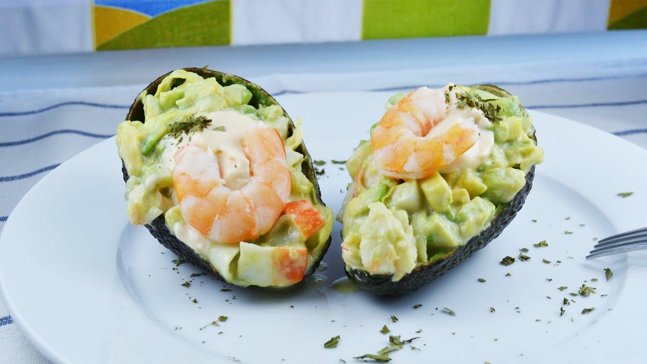 Stuffed Avocado with Shrimp Salad - Easy Crab Sticks & Shrimp Stuffed ...