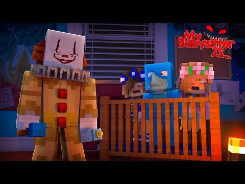 MY BABYSITTER IS..... IT THE CLOWN !!!! Minecraft w/ Little KElly, Little Carly and Sharky