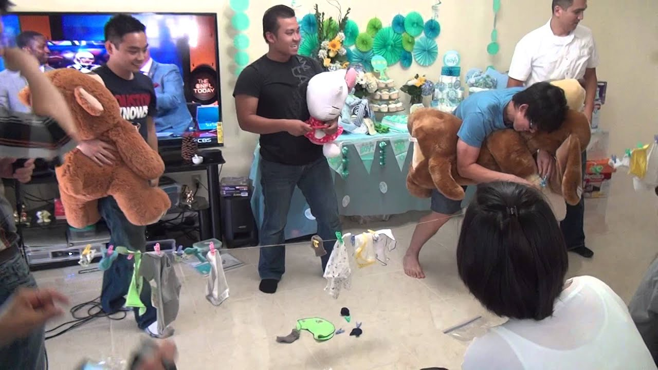 clothes hanging game keith baby shower youtube