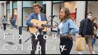How UNIQUE is this guys VOICE | Fix You - Coldplay | Allie Sherlock & Dylan Harcourt