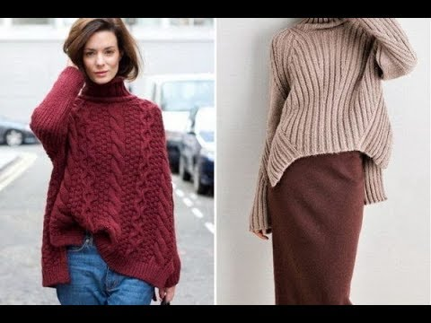женский пуловер оверсайз спицами 2019 Womens Pullover Overseas
