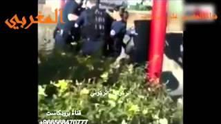 فتاة منقبه مسلمه قاومت الشرطه الفرنسيه