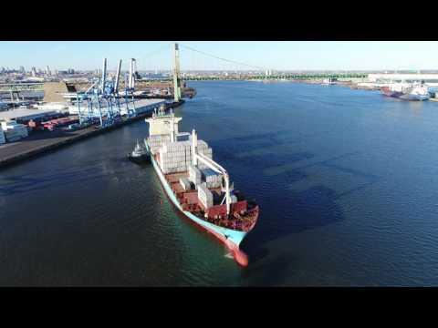 Tugboat Assisting Cargo Ship Delaware River Philadelphia PA