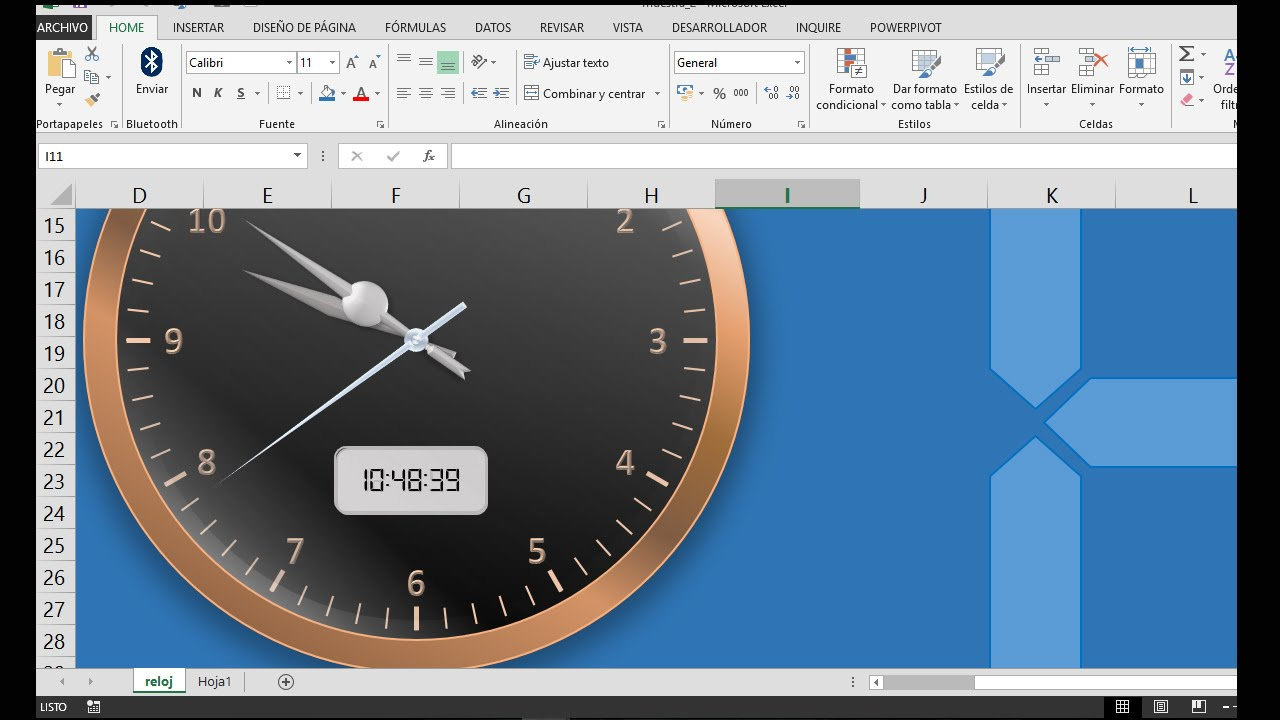 analog digital clock en EXCEL parte 1