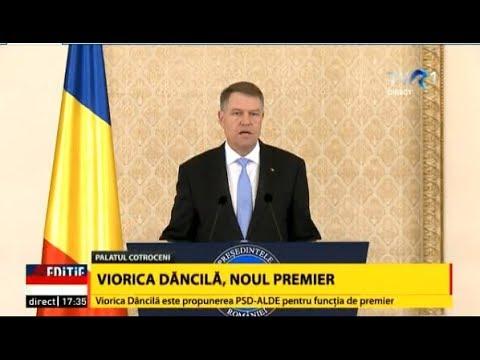 Președintele Klaus Iohannis a desemnat-o pe Viorica Dăncilă în funcţia de prim-ministru