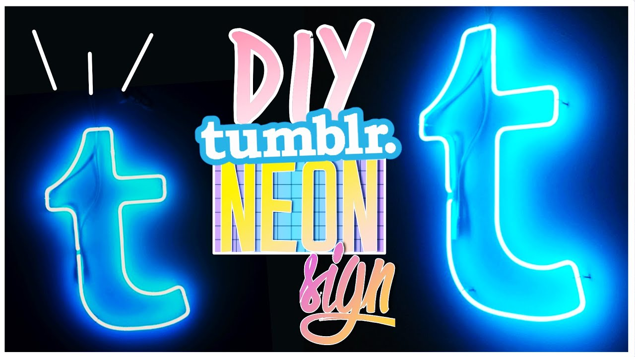 diy tumblr neon light sign neonlichter als room decor youtube. Black Bedroom Furniture Sets. Home Design Ideas