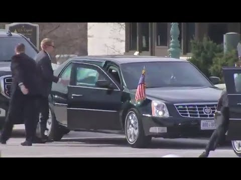 Presidential motorcade arrives on Capitol Hill. to pay respect to the late Rev. Billy Graham