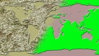 The world map chiseled in stone - green screen effect