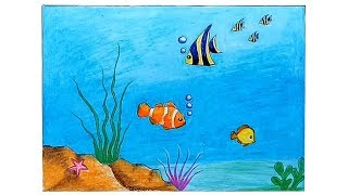How to draw Scenery of Underwater step by step