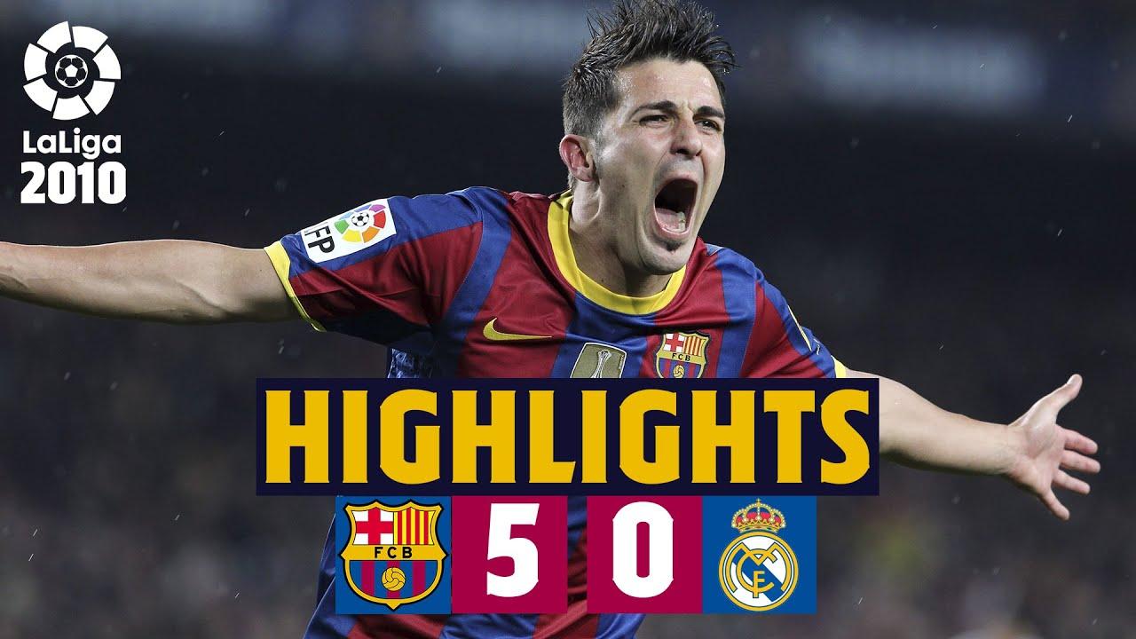 Barca 5 0 Madrid Xavi Villa Pedro Jeffren Goals Extended Highlights Youtube