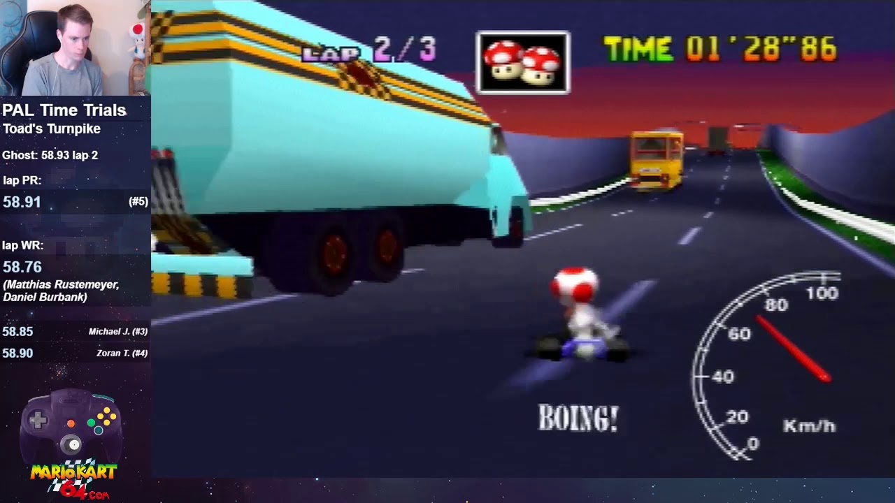 Mario Kart 64 Toad S Turnpike Lap 58 87 Pal Youtube