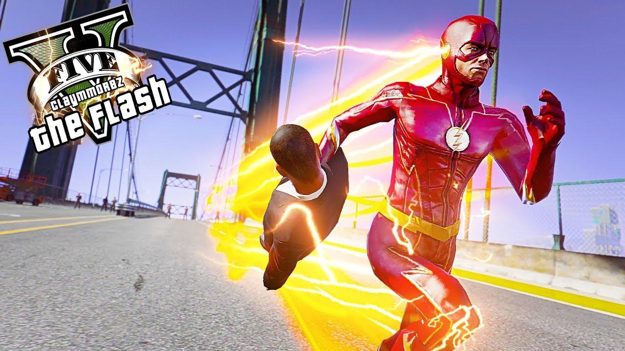 The Flash Saves People From Falling! Bridge Attack (GTA 5 Flash Mod)