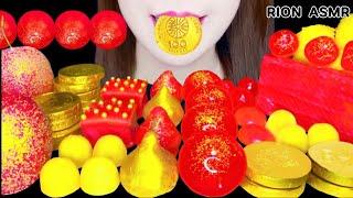 【ASMR】【咀嚼音 】RED GOLDEN DESSERTS APPLE JELLY CHOCOLATE MUKBANG 먹방 食べる音 EATINGSOUNDS NOTALKING
