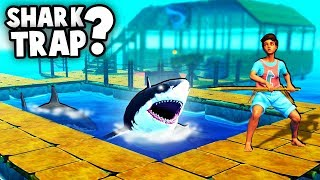 How to BUILD the Best SHARK TRAP!?  (Raft Survival 2018 Gameplay)