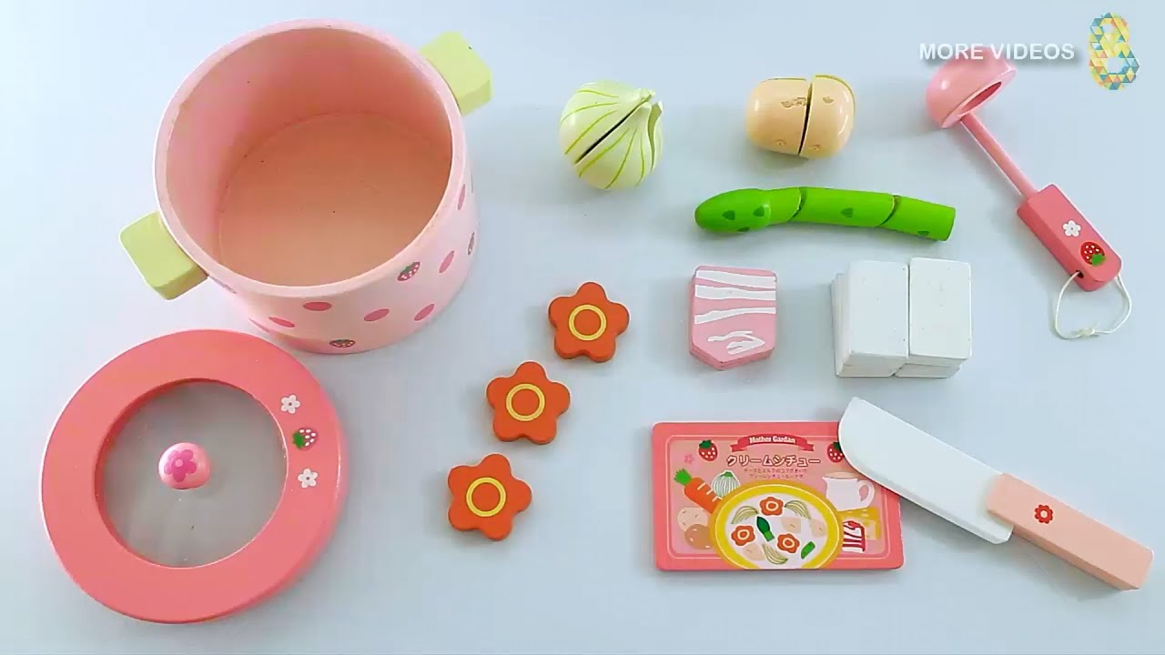 Toy cutting Velcro Food Playsets Mother Garden Wooden kitchen Toys ...