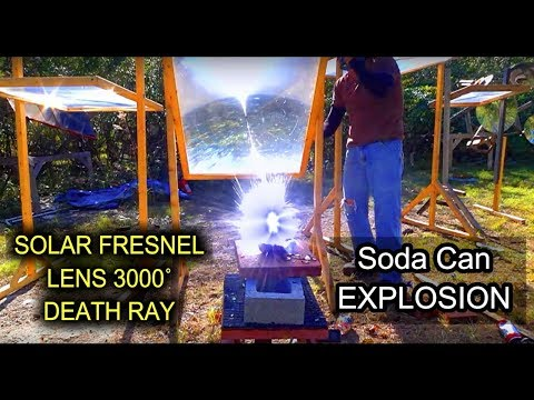 3000 DEGREE solar Knife vs Soda Can Unopened Fresnel Lens solar SONY DSC RX10 Slow Motion