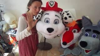 Ростовая кукла далматинец Маршал из Щенячий патруль в конце поздравляет мальчика