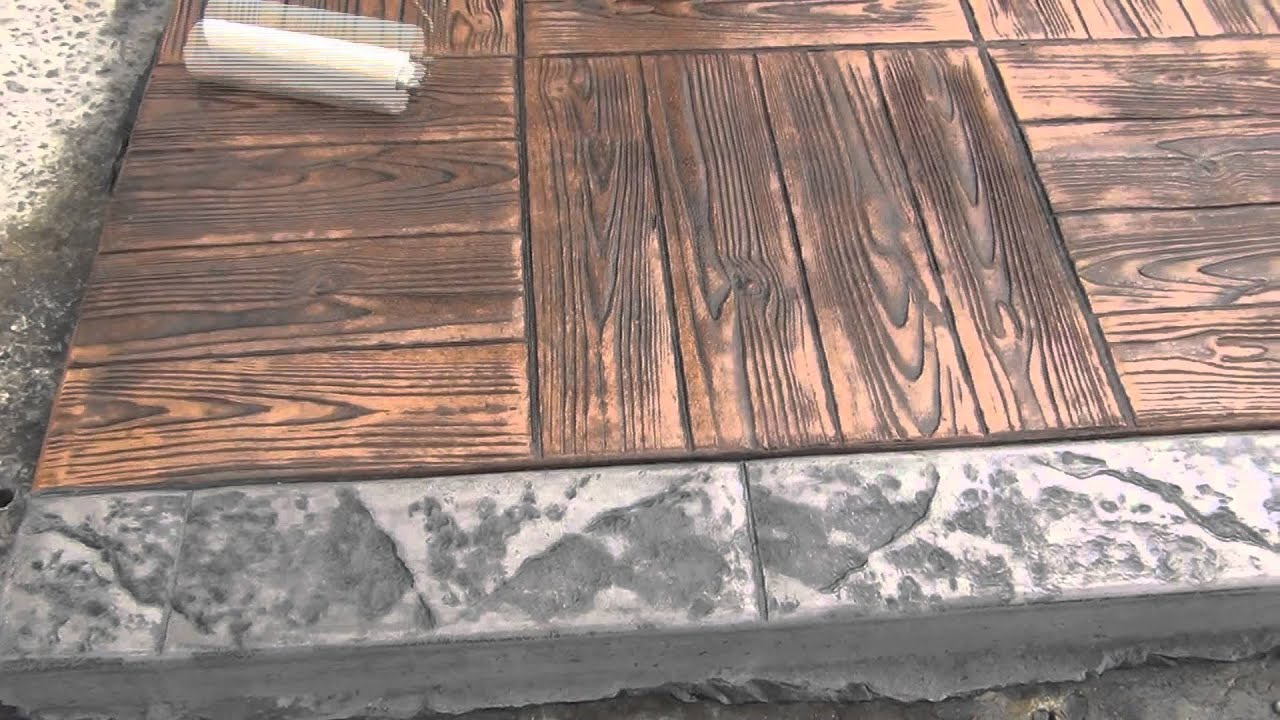 Moderne methode application de vernis sur beton empreinte - Pochoir pour terrasse beton ...