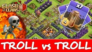 Clash Of Clans | 11 EARTHQUAKE SPELLS vs TROLL BASE! | TROLL vs TROLL! New Dark Spell Attacks!