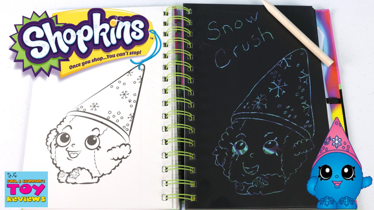 Shopkins Sketch Surprise Book Snow Crush Scratch Art DIY Arts Crafts