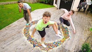 Last To Stop WALKING on LEGO Circle Wins $10,000 Challenge!! w/Adam B