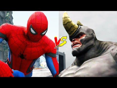 Spiderman VS Rhino Fight ! (GTA 5 Superheroes Battles) - 동영상