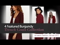 4 Featured Burgundy Trench Coats Collection Amazon Fashion, Winter 2017
