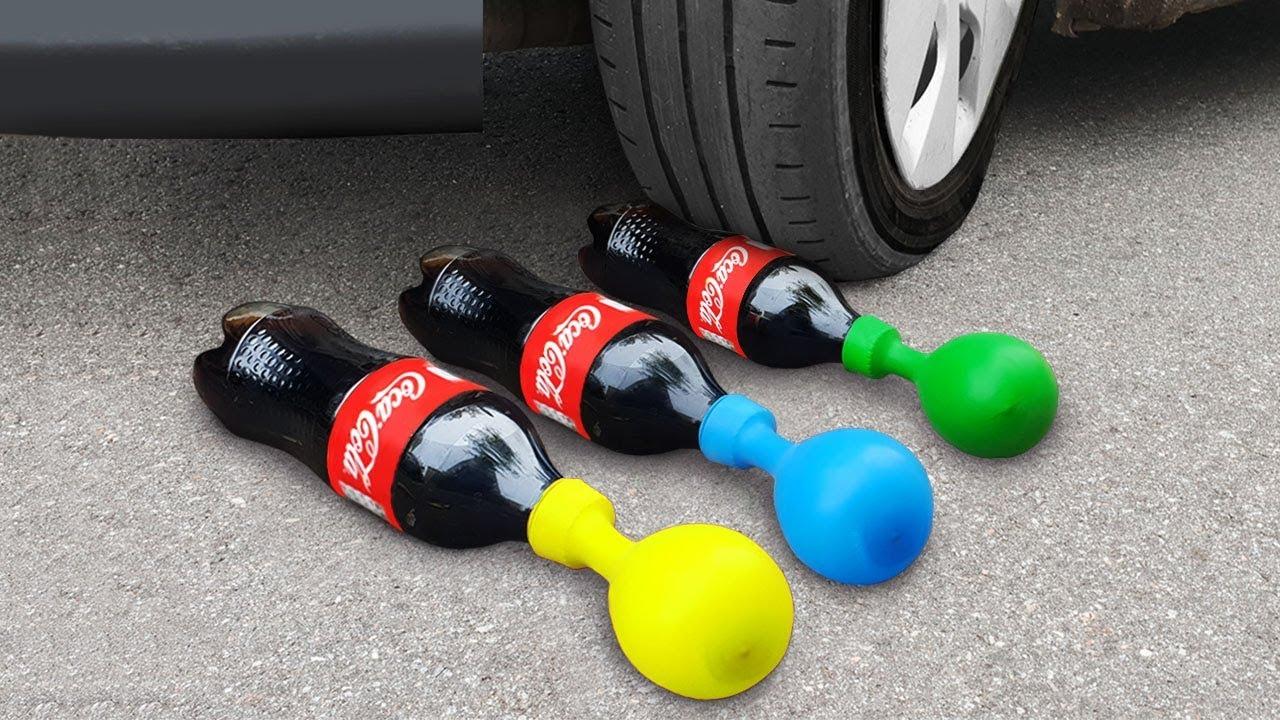 Experiment: Car Vs Coca Cola and Balloons