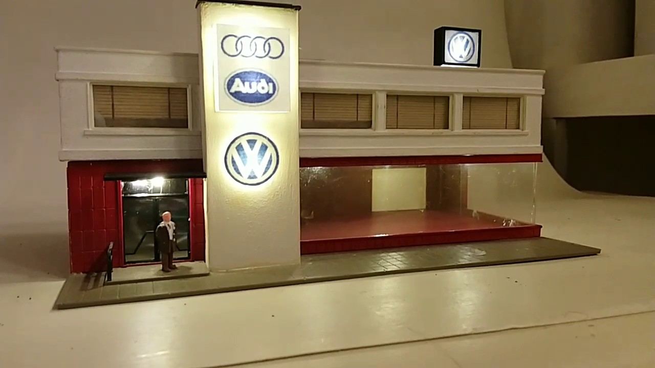 iights on interior and signage vw audi dealership ho scale youtube. Black Bedroom Furniture Sets. Home Design Ideas