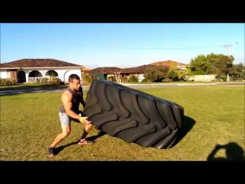 380kg / ~ 840lb tyre flip technique at 80kg / 176lb