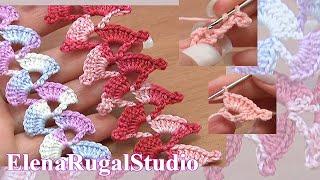How To Crochet Crochet Lace Stripe  Урок 3 Вязаные шнуры крючком
