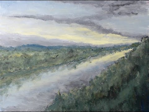 River Dawn – Time-lapse – Acrylic Landscape Painting Tutorial