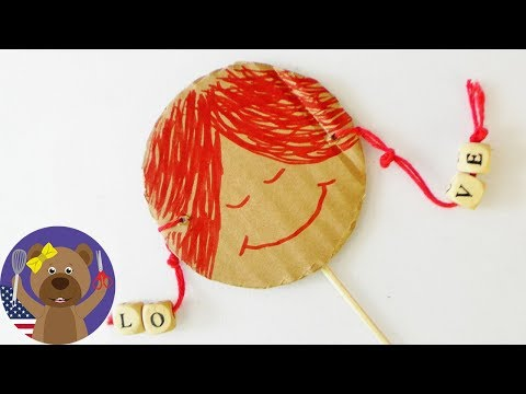 How to make a cute rattle drum | Music instrument crafts | DIY spinning drum