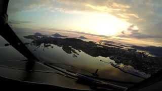 Wideroe Dash 8-300 cockpit view landing Florø, Norway
