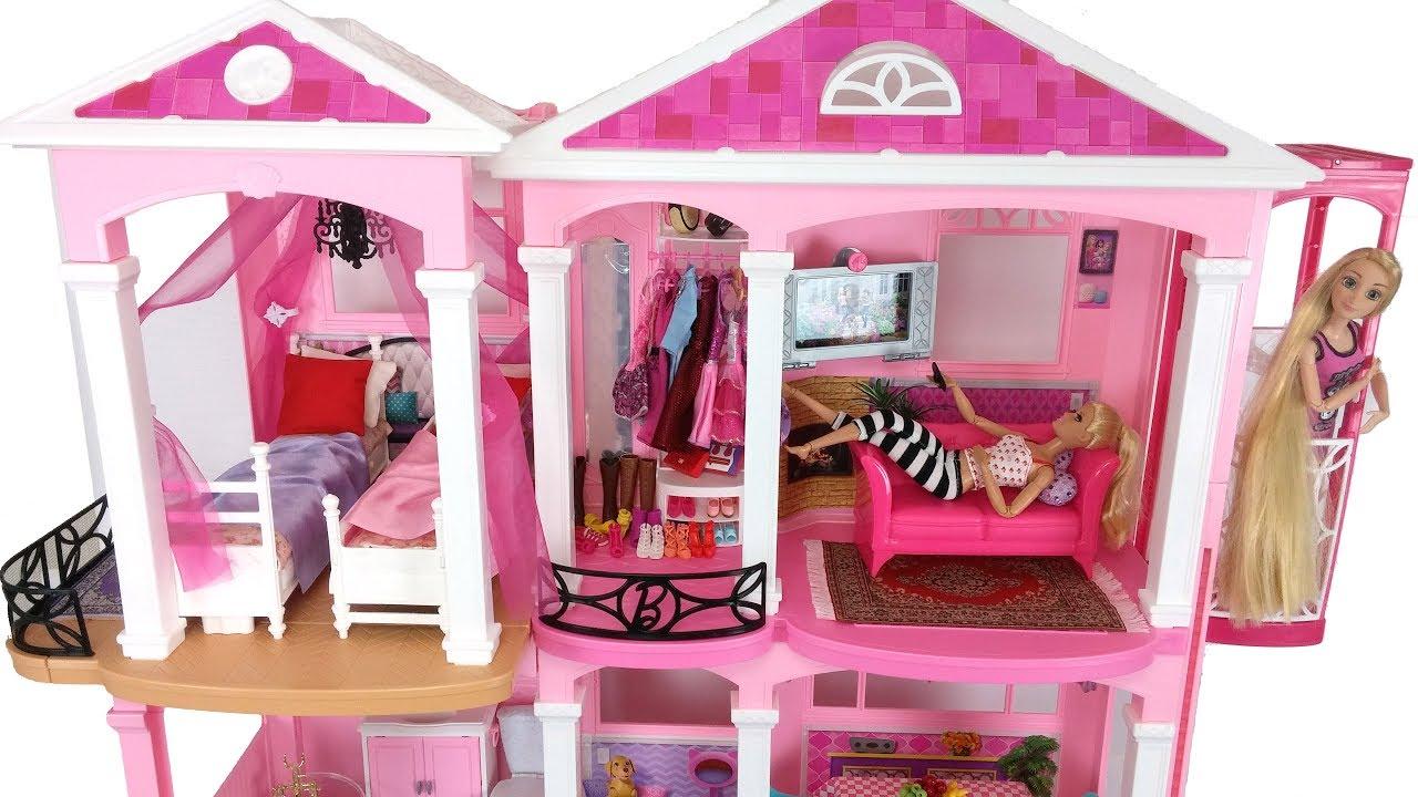 barbie pink house morning routine rapunzel bedroom دمية باربي البيت rumah casa