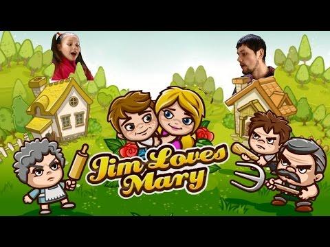 Игра Jim Loves Mary  Джим любит Мэри для детей Прохождение игры 1-14 уровень