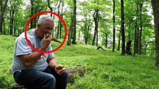 Man Sits Alone In Forest, Suddenly Finds Himself Surrounded By Unexpected Visitors