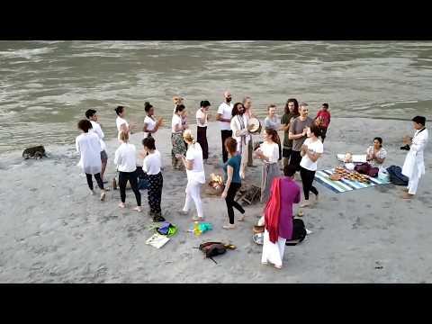Ganga Ceremony At Om Shanti Om Yoga Teacher Training School Rishikesh