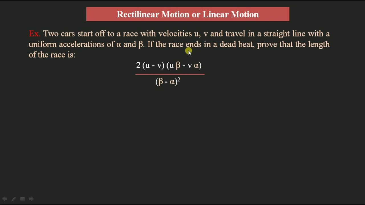 Example Problems Solving On Rectilinear Motion