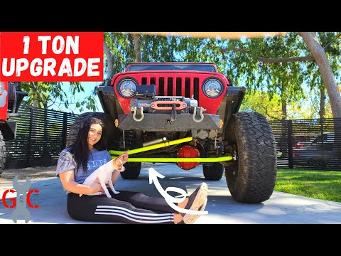 1 TON Crossover Steering Install Jeep TJ on 38 inch Tires!