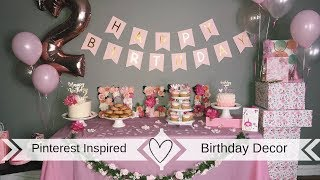 PINTEREST INSPIRED | BIRTHDAY DECOR (pink &gold floral theme) | MY FIRST VIDEO
