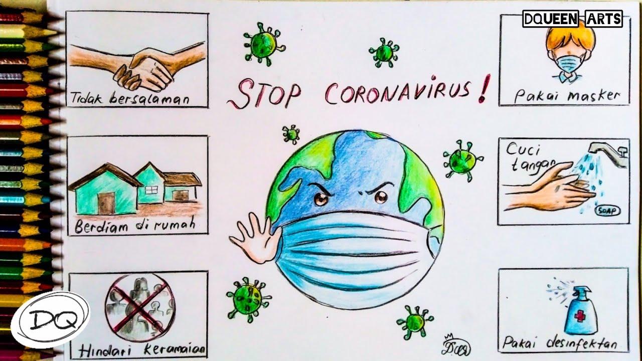 Cara Menggambar Dan Mewarnai Poster Pencegahan Covid 19 Virus Corona How To Draw Covid 19 Poster Youtube