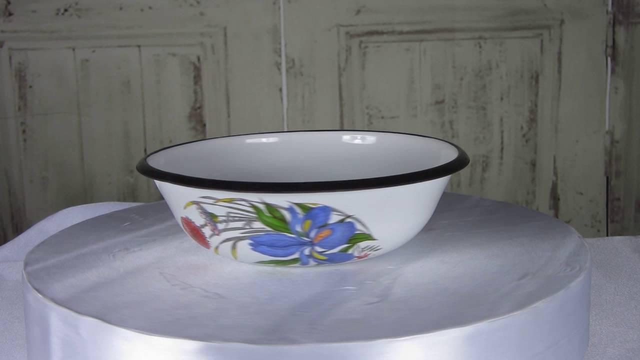 White Enamel Metal Plate Black Rim Vintage Camping Tin