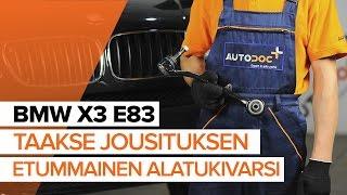 Kuinka vaihtaa taakse jousituksen etummainen alatukivarsi BMW X3 E83 -merkkiseen autoon [OHJEVIDEO]