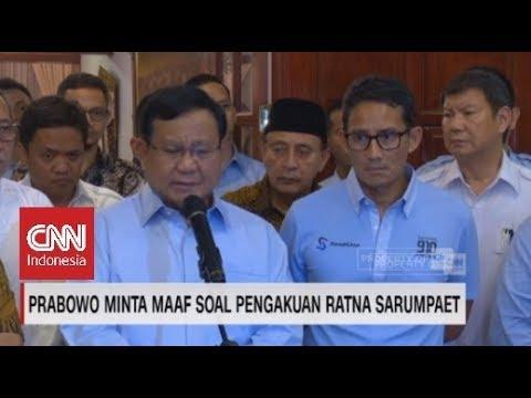 Prabowo Subianto Minta Maaf Sudah Termakan Dusta Ratna Sarumpaet