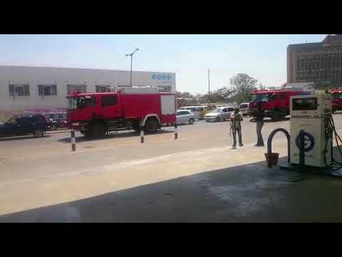 Some controversial fire trucks being driven around Lusaka business district