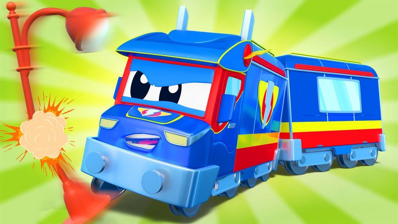 SUPER TREM move o poste de luz caído! - Cidade do Carro - Desenhos animados infantis