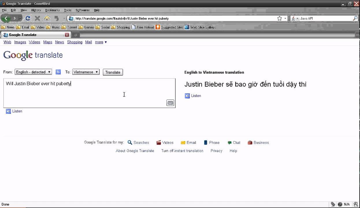 Justin Bieber Epic Google Translate