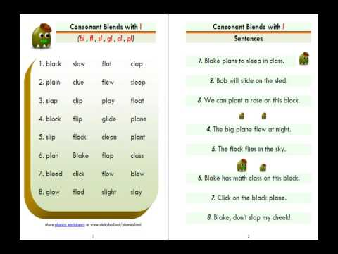 Esl Phonics Lesson Consonant Blends Bl Fl Sl Gl Cl Pl Youtube